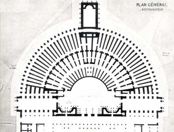 Baltard, Plan of  the Theater of Pompey